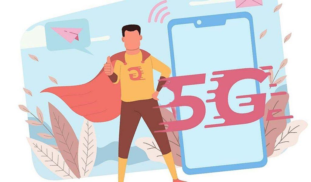 5G-netwerk vlakke afbeelding
