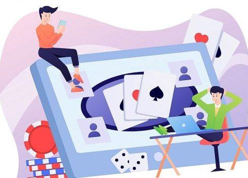 illustratie met gokkers die online casino spelen